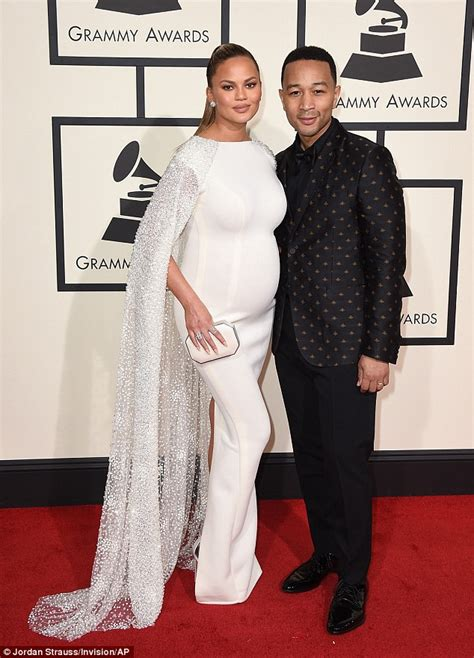 Jess To Be Johns Grammy Date by Chrissy Teigen Showcases Blossoming Baby Bump