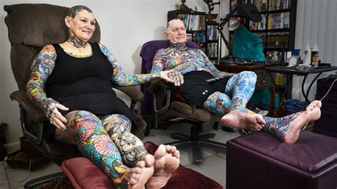 old tattooed couple senior citizen breaks record for most tattoos on the