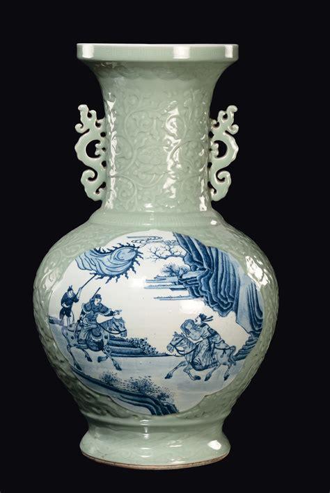 Large Porcelain Vase by A Large Celadon Porcelain Vase With Blue And White