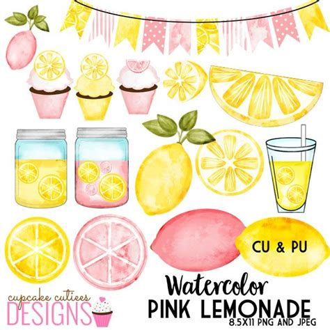lemonade clipart pink lemonade watercolor digital clip set mygrafico