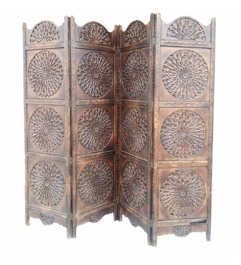 Aarsun Woods Hand Carved Wooden Partition Screen Room Carved Wood Room Divider