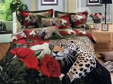 leopard bedding luxury leopard and roses print 4 piece 100 cotton duvet cover sets beddinginn com