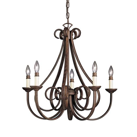 Shop Kichler Dover 25 5 In 5 Light Tannery Bronze Country Cottage Chandeliers