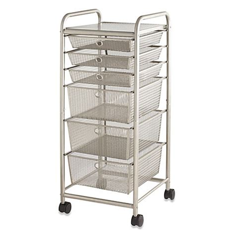 6 drawer mesh rolling cart 6 drawer rolling metal cart bed bath beyond