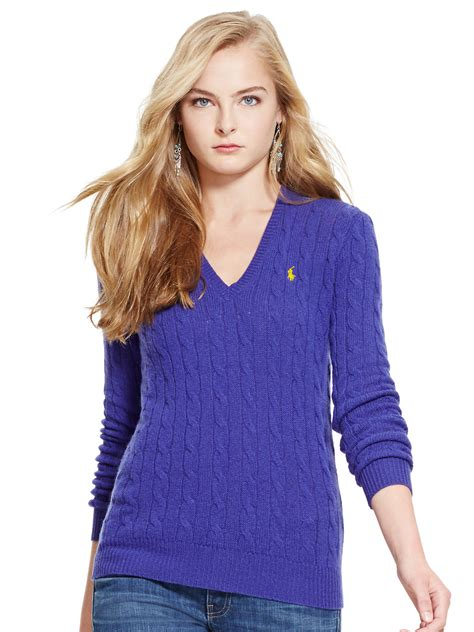 V Neck Knit Sweater 1 polo ralph cable knit v neck sweater in purple bright purple lyst