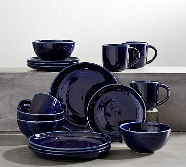 joshua dinnerware  piece set navy blue pottery barn