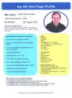 one page company profile template mylife person centred support planning for with