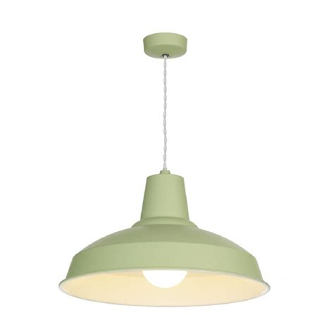 Retro Style Ceiling Pendant Light Painted In Soft Sage Green Green Pendant Lighting
