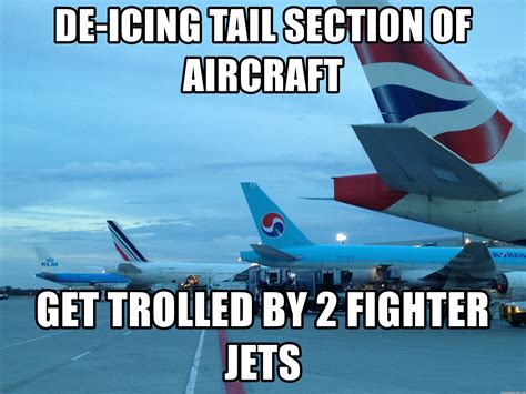 tail section of an airplane de icing tail section of aircraft get trolled by 2 fighter