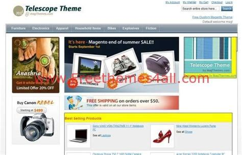 Free Magento Shopping Website Template Freethemes4all Magento Website Templates