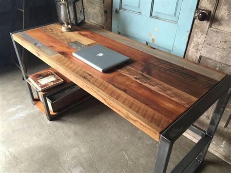 wood desk weathered reclaimed wood desks wood desk
