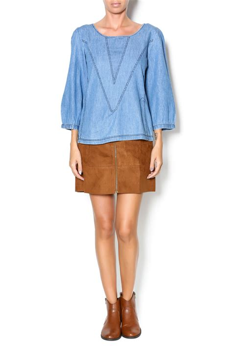 Top Anggie By Konik Shop angie geometric chambray top from iowa city by revival