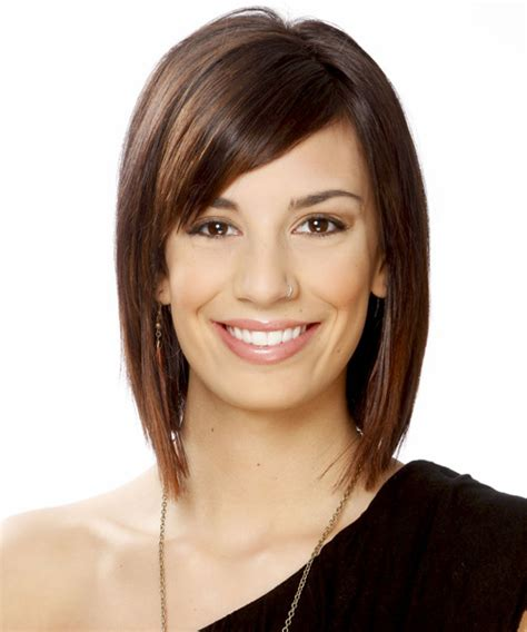 brunette hairstyles wiyh swept away bangs short straight formal hairstyle with side swept bangs