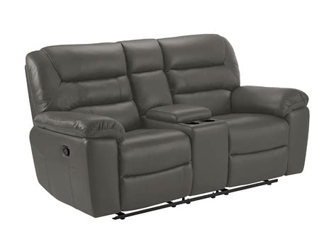 Gray Faux Leather Reclining Sofa Small Sofa With Manual Recliners Grey Faux Leather