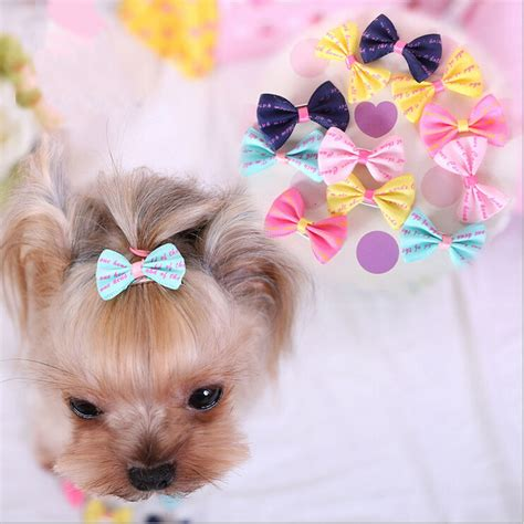 accessories for puppies 100pcs lot pet handmade ribbon hair accessories bows 6 colors 1 38 inch jpg