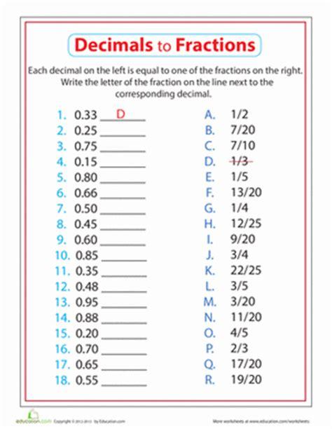 4th Grade Decimal Worksheets by Decimals To Fractions Worksheet Education