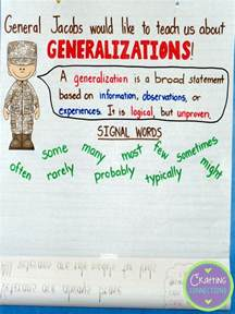 crafting connections generalizations anchor chart