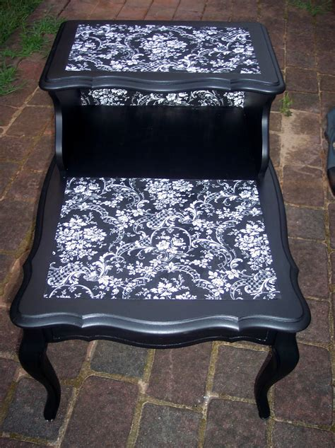 Decoupage On Leather - uniquely chic furniture mod podge fabric table