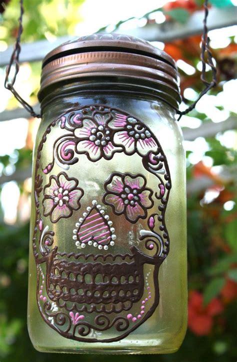 Solar Light Tinted Glass Jar Solar Light Day Of The Dead Sugar Skull Sun