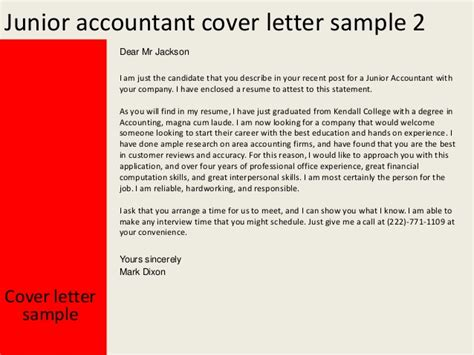 cover letter for junior accountant junior accountant cover letter