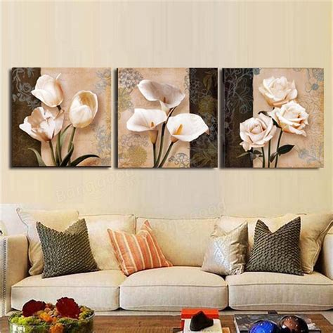Poster Our Hiasan Dinding 3pcs orchid flower combination painting on canvas frameless drawing home wall decor at banggood