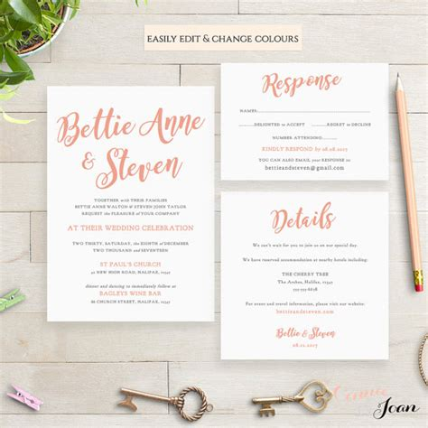 wedding invitation template set printable by connieandjoan
