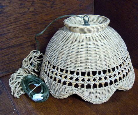 wicker hanging l swag vintage wicker hanging swag l light fixture scalloped