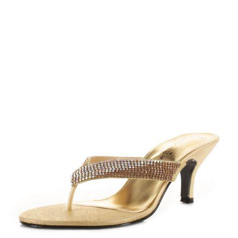 kitten heel toe post sandals womens gold toe post kitten heel diamante prom