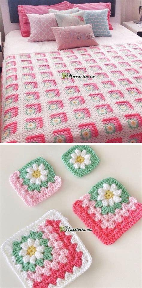 flowers crochet square blanket pattern crochetbeja