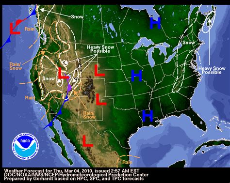 map of weather u s weather forecast march 4 2010 171 earth