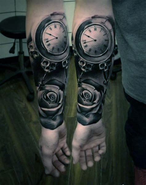 hand tattoo rose clock 200 popular pocket watch tattoo and meanings 2017