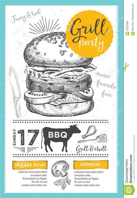 coq a doodle do food truck menu de uitnodiging de barbecuepartij bbq het ontwerp