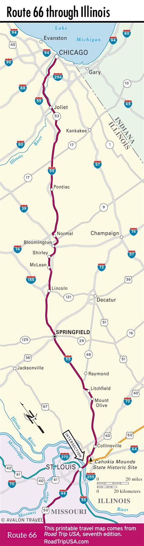route 66 road map usa route 66 through illinois road trip usa
