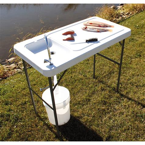 folding table with sink guide gear fish cleaning processing folding table