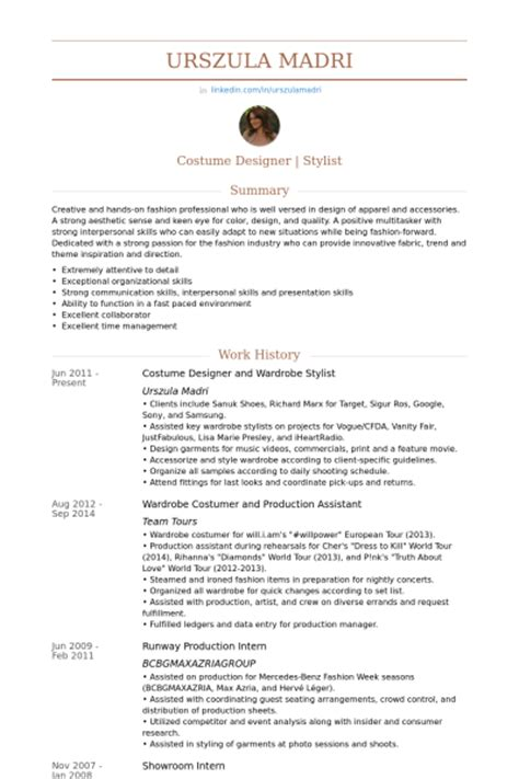 fashion stylist resume format stylist resume sles visualcv resume sles database