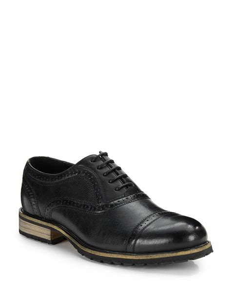 steve madden perforated brogue dress shoes in black for