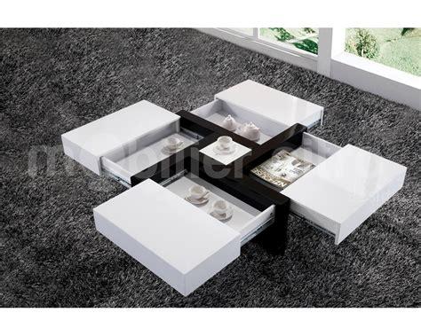 Table basse avec rangement blanche   Le bois chez vous