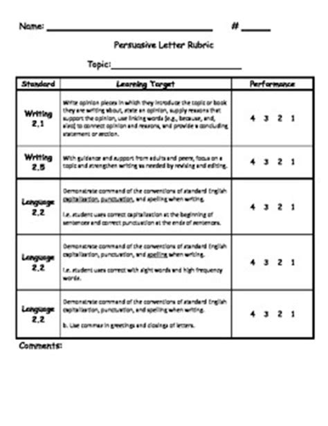 Thank You Letter Template 5th Grade Common Persuasive Letter Rubric Writing Language Places And Pictures Of