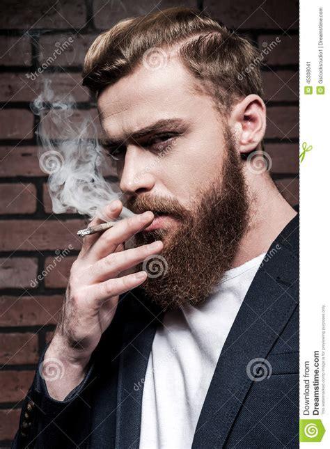 beard man smoking stock photo image 45308041