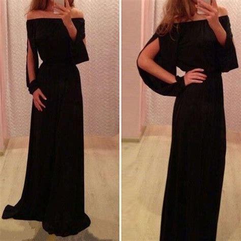 Black Split Longdress W8180usi D details about strapless boho maxi evening