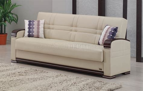 Fulton Bed by Fulton Sofa Bed In Beige Bonded Leather By Empire W Options