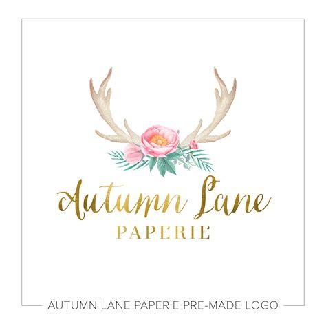 tattoo flower logo watercolor antler flower logo autumn lane paperie