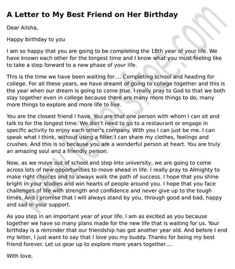 Letter My Friend birthday letter to from sle birthday