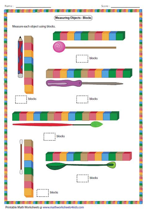 printable millimeter block measuring length of the objects with blocks classroom