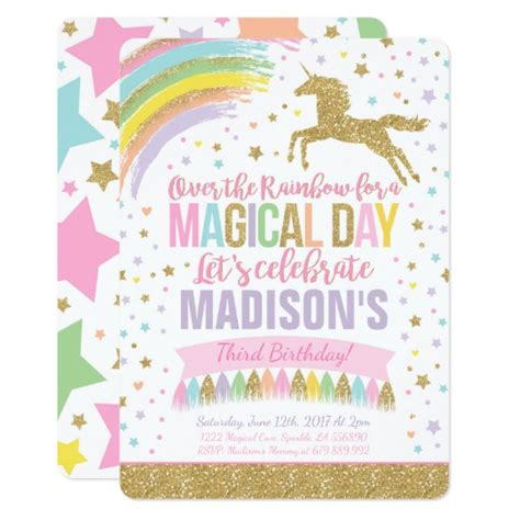 unicorn birthday invitation pink gold unicorn zazzle ca