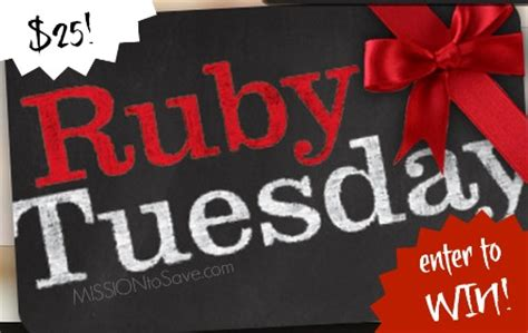 Ruby Tuesday Gift Card Other Restaurants - ruby tuesday bogo coupon win 25 ruby tuesday gift card mission to save