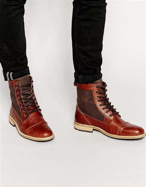 aldos boots for aldo amassa leather boots in brown for lyst