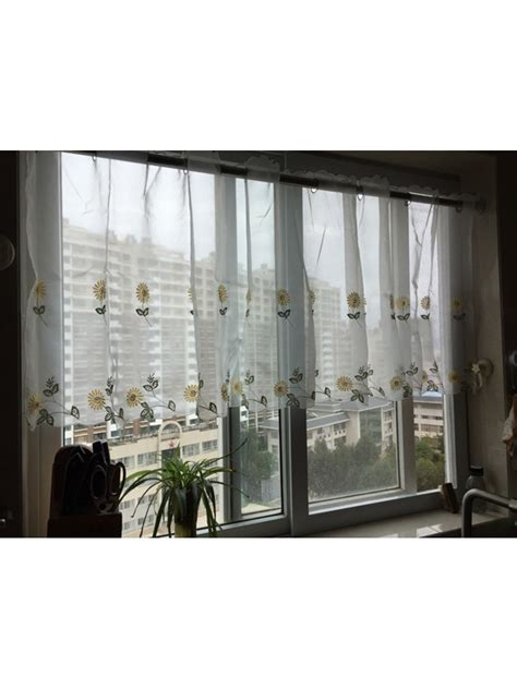 Sheer Cafe Curtains Winston Embroidered Grommet Cafe Sheer Curtains For Kitchen And Bathroom Cheery Curtains