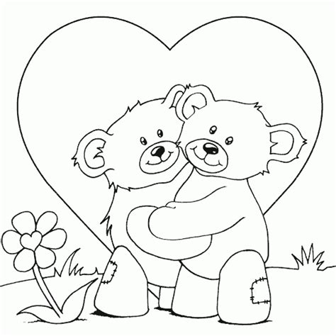 teddy bears cuddling coloring page coloring com