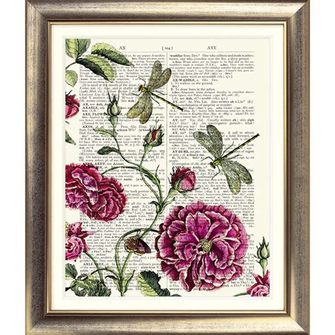 antique rose botanical garden wall art print by art print on original antique book page rose dragonfly
